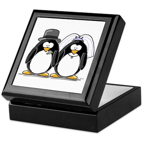 Bride and Groom Penguins Keepsake Box