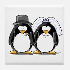 Bride and Groom Penguins Tile Coaster