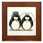 Bride and Groom Penguins Framed Tile