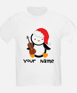Personalized Christmas Violin Music Penguin T-Shir