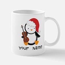 Personalized Christmas Violin Music Penguin Mugs