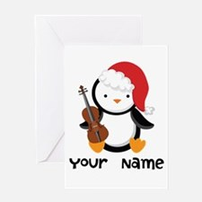 Personalized Christmas Violin Music Penguin Greeti