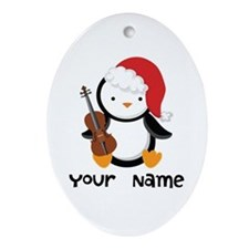 Personalized Christmas Violin Music Penguin Orname