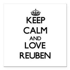 "Keep Calm and Love Reuben Square Car Magnet 3"" x 3"