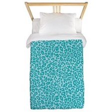 Blue Cheetah Print Twin Duvet
