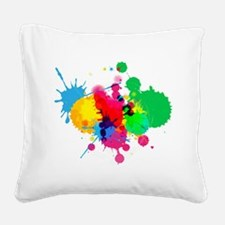 Abstract Paint Splatters Square Canvas Pillow