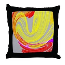 funky retro yellow red abstract art Throw Pillow