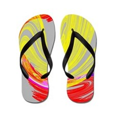 funky retro yellow red abstract art Flip Flops