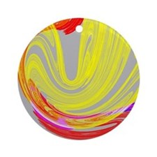 funky retro yellow red abstract art Round Ornament