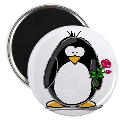 """Penguin with a Rose 2.25"""" Magnet (10 pack)"""
