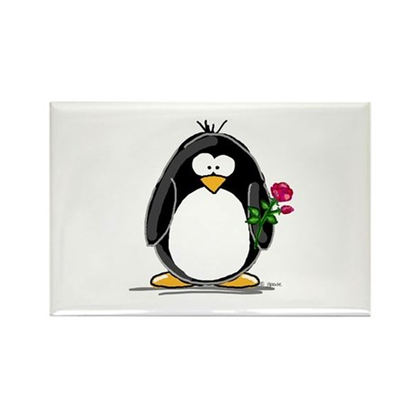 Penguin with a Rose Rectangle Magnet