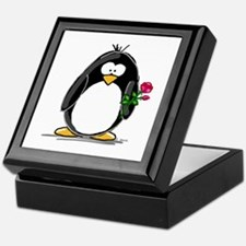 Penguin with a Rose Keepsake Box