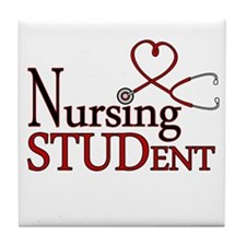 Nursing Student Cute Heart Stethoscope Tile Coaste