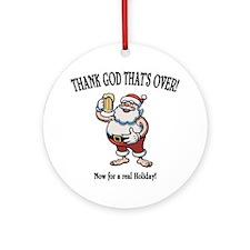 santa-beer-LTT Round Ornament