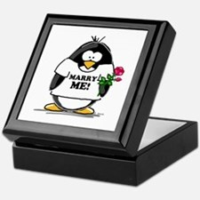 Marry Me Penguin with Rose Keepsake Box
