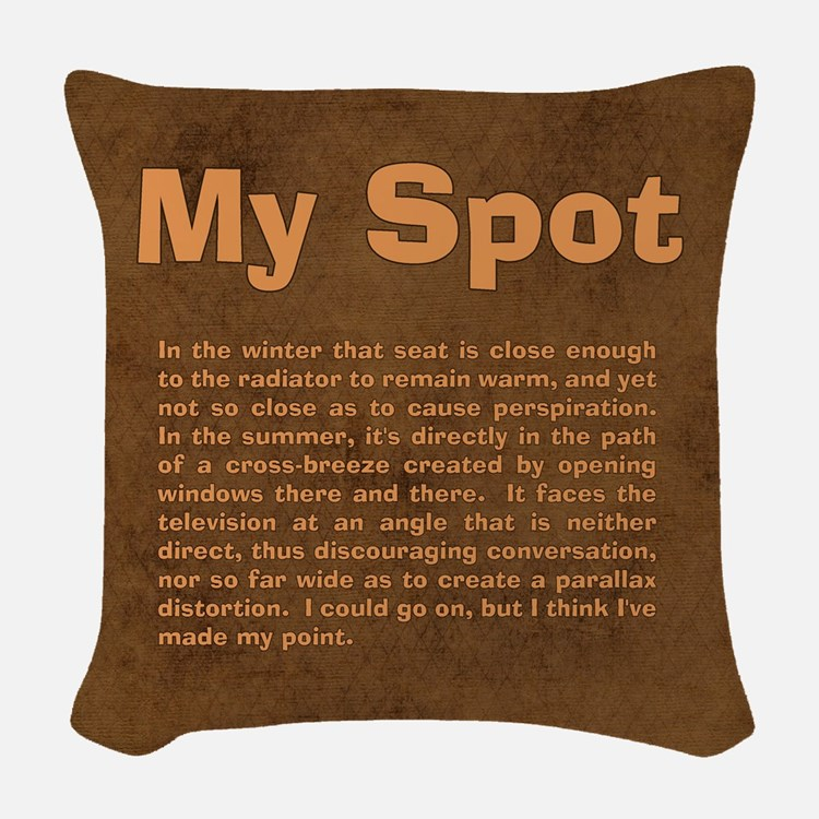 Sheldon's My Spot Quote Woven Throw Pillow