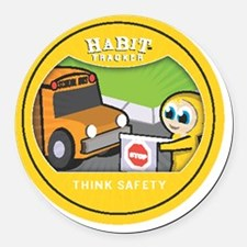 think safety copy Round Car Magnet