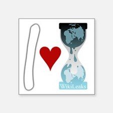 "i heart wikileaks2white Square Sticker 3"" x 3"""