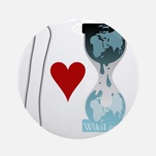 i heart wikileaks2white Round Ornament