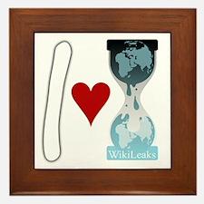 i heart wikileaks2white Framed Tile