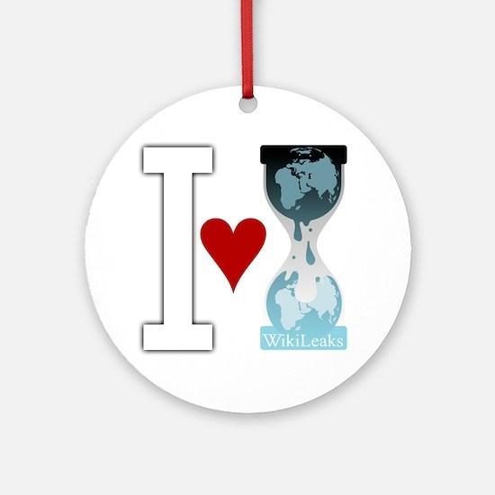 i heart wikileakswhite Round Ornament