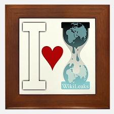 i heart wikileakswhite Framed Tile