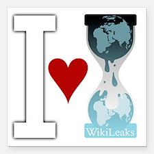 "i heart wikileakswhite Square Car Magnet 3"" x 3"""