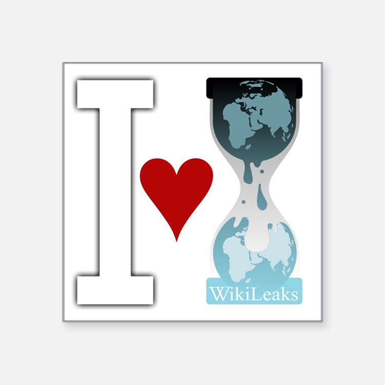 "i heart wikileakswhite Square Sticker 3"" x 3"""