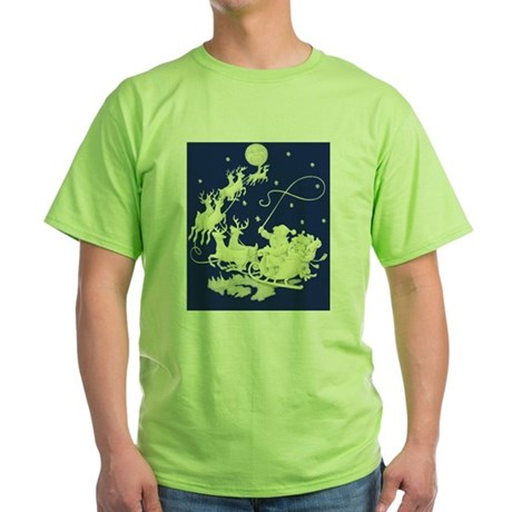 santa-night-ride-poster Green T-Shirt