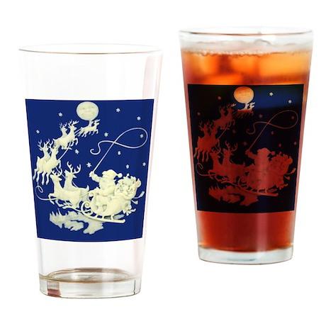 santa-night-ride-poster Drinking Glass
