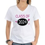 Class of 2024 (butterfly) Women's V-Neck T-Shirt