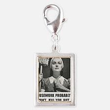 Housework Silver Portrait Charm