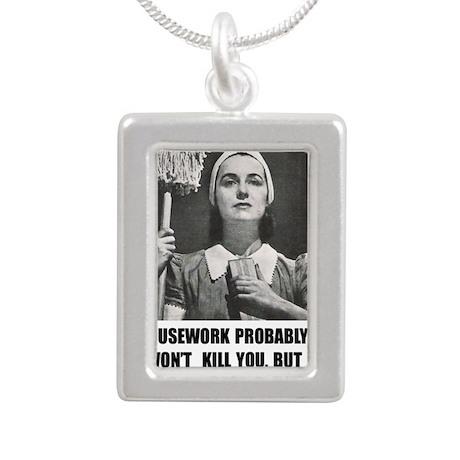 Housework Silver Portrait Necklace