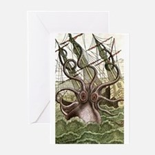 Giant Squid vs. Pirates color Greeting Cards (Pack