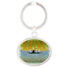 kayakreflectf Oval Keychain