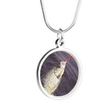 crappie2 Silver Round Necklace