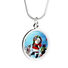 santa_christmas_wallpaper_5 Silver Round Necklace