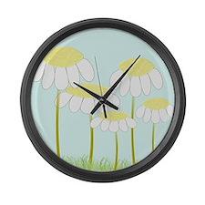 Daisies 3 Large Wall Clock