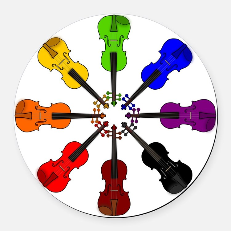 circle_of_violins Round Car Magnet