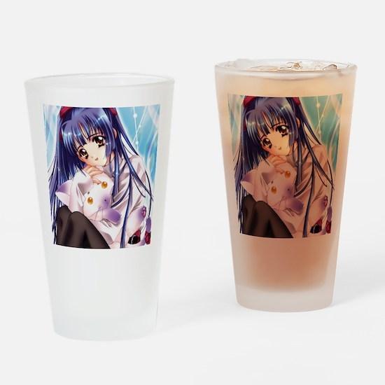 GirlWithCat Drinking Glass