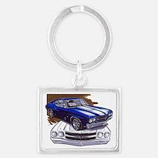 1970 Chevelle Blue-White Car Landscape Keychain