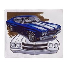1970 Chevelle Blue-White Car Throw Blanket