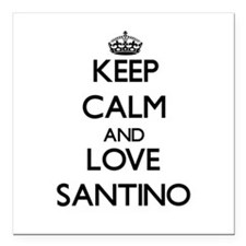 "Keep Calm and Love Santino Square Car Magnet 3"" x"