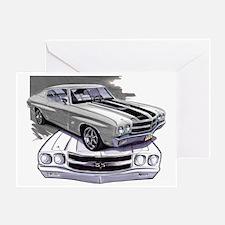 1970 Chevelle Grey-Black Car Greeting Card