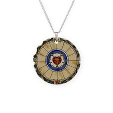 luther rose window round orn Necklace