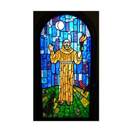 St. Francis Stained Glass Sticker (Rectangle)