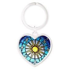 Dove Stained Glass Heart Keychain