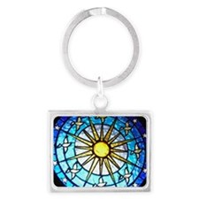 Dove Stained Glass Landscape Keychain