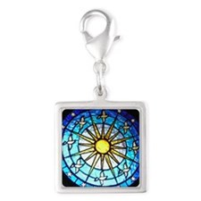 Dove Stained Glass Silver Square Charm