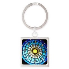 Dove Stained Glass Square Keychain